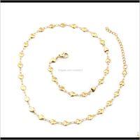 Beads arts, artesanato presentes em casa jardim1 pc 45cm 304 aço inoxidável para homens mulheres folha de jóias folha de ouro cor correntes diy brincos colar