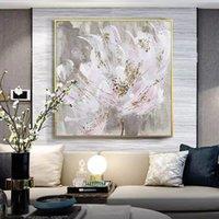 그림 거 대 한 핑크 꽃 그림 벽 아트 100 % 손으로 현대 추상 유화 거실에 대 한 캔버스에 홈 장식 프레임