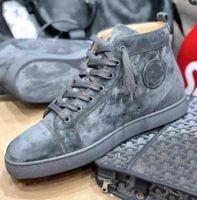 Grau / Blau Wildleder # Leder Turnschuhe # Schuhe High Top Bühne Brand Red Sleee Sneakers Schuhe # Männer und Frauen Kausal Party Kleid Hochzeit Plus Box 35-47