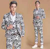Мужские костюмы Blazers Printing Clock Groom Свадьба для мужчин Blazer Boys Boys Mails Main Main Fashion Slim Masculino Последнее пальто Дизайн певица