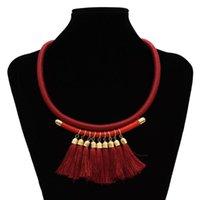 Chokers 3 colori Bohemain in pelle corda corda collane etnico frangia nappa ciondolo ciondolo per le donne gioielli festa di nozze