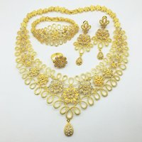 Earrings & Necklace Fashion Wedding Dubai Africa Nigeria African Jewelry Set Gold-color Romantic Woman Bridal Sets