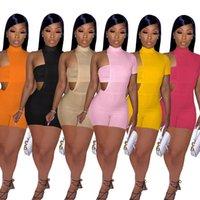 Мода Женщины Scestsuits 2 Два кусок Набор нарядов Сексуальная обернутая грудь нерегулярная с короткими рукавами шорты ползунки костюм ночной клуб плюс размер одежды летняя одежда