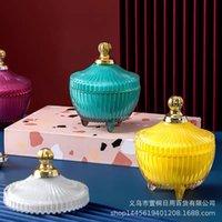 Home Fragranze Sceread Candela Coppa d'oro, cristallo, candela di aromaterapia, ornamenti domestici, regali creativi a mano, barattolo di zucchero di vetro con lid94lo