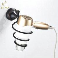 Bathroom Shelves Black Brass Wall Shelf Wall-mounted Hair Dryer Rack Storage Hairdryer Support Holder Spiral Stand