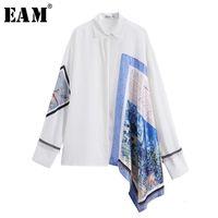 [EAM] Yeni Bahar Sonbahar Yaka Uzun Kollu Beyaz Düzensiz Desen Baskılı Büyük Boy Gömlek Kadın Bluz Moda Gelgit JT636 201201