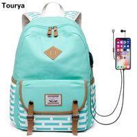 Plecak Tourya Moda Kobiety Paski Płótno USB Ładowanie Torby Szkolne Laptop Rucksack Bookbag Dla Nastolatków Dziewczyny Podróż Mochila