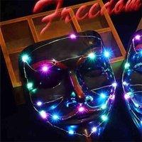 LED Halloween V-FACE JUGUETES LUMINOSA LUMINOUS HIJO DANZA MÁSCARAS NEGROS COMPLEORES DE PLÁSTICO DE PLÁSTICOS DE VERA