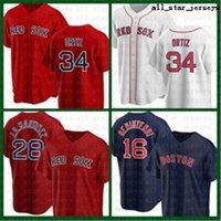 Boston Boston Baseball Jersey Vermelho Sox personalizado 34 David Ortiz 28 JD Martinez 9 Ted Williams 16 Andrew Benintendi 50 Mookie Betts 11 Rafael Legers