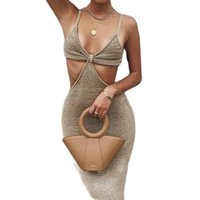 Casual Dresses TYJTJY Vacation Knitted Maxi For Women Summer 2021 Elegant Sexy Party Cut Out Backless Bodycon Dress