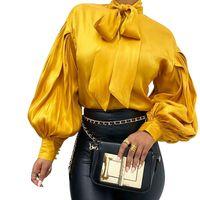 أزياء المرأة مكتب بلوزة بيضاء، عارضة بلوزة ساتان المرأة مع ذوي الياقات العالية، ربيع خمر الأحمر قميص طويل الأكمام، بلايز T200429