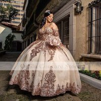 Rose Gold Sparkly Ball Gown Quinceanera Dresses Detachable Sleeves Sweetheart Sequines Applique Sweet 16 Dress Party Wear