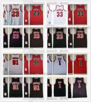Mitchell Ness Retro Mesh Scottie 33 Pippen Jerseys Basquete Dennis 91 Rodman Derrick 1 Rose 23 Michael Homens Vermelho Vermelho Stripe Preto Camisas Costuradas 1997-98 1995-96