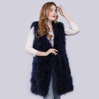 Women's Fur & Faux Lady Casual Vest Real Turkey Gilet Knitted Autumn Winter Women Genuine Ostrich Waistcoat Long Style 90 Cm