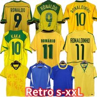 1998 البرازيل الرئيسية الرجعية لكرة القدم الفانيلة 2002 قمصان كلاسيكية كارلوس روماريو رونالدو رونالدينهو 2004 لكرة القدم جيرسي 1994 Bebeto 1957 2006