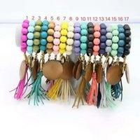 Commerce extérieur Perles Bled Bead Bracelet Keychain Disque Vierge Tassel Porte-clés Pendentif Pure Pure Multicolore en option