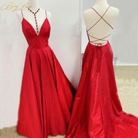Party Dresses BeryLove Simple Red Elegant Evening Dress 2021 Spaghetti Straps Gown V Neck Formal On Sale Plain Prom Open Back