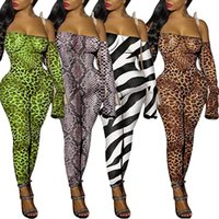 Kvinnor Designers Kläder 2021 Jumpsuits Leopard Snake Print Animal Printed Pyjamas Off-Shoulder Nattklubb Tights för Sexy Club Wear