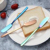 الإفطار الغربي ملعقة الفولاذ المقاوم للصدأ زبدة سكين أدوات كعكة الجبن الحلوى مربى الفيدرز كريم الذهب الأسود السكاكين الأزرق DWA5842