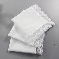 25см белый кружевной тонкий носовой платок хлопковое полотенце женщина свадебный подарок партии украшения ткань салфетки салон простой пустой OWB6778