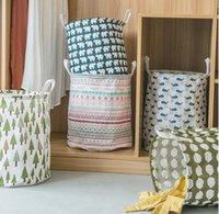 Laundry Basket Cylinder Fabric Folding Clothing Storage Bucket Kids Toys Storages Barrel Home Organizer 14style HHC7041