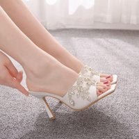 Sandals Crystal queen summer sexy plaza toe slippers sandals thin ladies in high heels outdoors beach slides women's fashionable shoes party JFI6