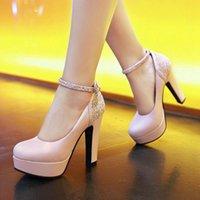 Dress Shoes 2021 Fashion Spring Autmn Woman Pumps Chunky Platform Big Size 43 High Thick Heels Shiny Party Elegant Ladies Work