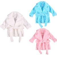 2021 0-6Y дети ребёнок девочек осень осень зима халат халат фланель сплошной цвет v шеи повязка одежда с поясом