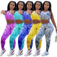 Mulheres verão esportes terno novo lazer impresso esportes dois peças conjuntos designer redondo pescoço ioga jogging aptidão em forma de fitness vestido de colete 1276