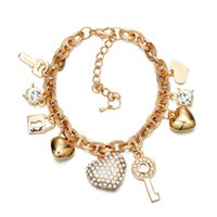 Love Diamond Heart Charm Bracelets For Women Gold Silver Color Stainless steel Bracelet&Bangle Jewelry Europe American Style Accessories