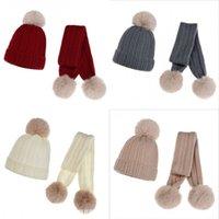 Dzieci dzianiny kapelusz szalik 2 sztuk Zestaw Zima Ciepła Czapka Dzieci Baby Boy Girl Faux Fur Pom Poms Miękkie Kapelusz Szaliki 3063 Q2