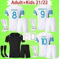 Adulto + kit infantil com meias Olympique De Marseille Camisa de futebol 2021 2022 OM Maillot De Foot Camisetas PAYET THAUVIN 21 22 masculino conjunto masculino terno infantil