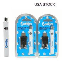 USA Zasoby Cookies Vape 350mAh Bateria 510 Wkłady gwintowe Vaporizer zmienne napięcie E Papierosy baterie Cookie z ładowarką USB Opakowanie Blister