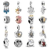 100% 925 Sterling Silver Charm Blue DreamCatcher Swans Love Pet Dog My Home Cœur Dangle Fit Pandora Bracelet DIY Femmes Bijoux