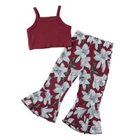 Clothing Sets Kids Baby Girls 2-piece Outfit Set Sleeveless Solid Color Tops+Floral Print Flared Pants