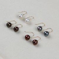 S925 Sterling Silver Dangle Earring Natural Freshwater Pearl Earrings Rice Shape Beads Women Fashion Jewelry Girlfriend Gift