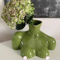 Mordern Body Shape Creative White Flower Vase Simple Dry Flower Insert Artist Residence Decorative Ornaments Modern Home Decor