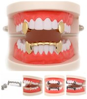 Grillz, Jewelryhip Hop Smooth Grillz Real Gold Plated Dental Grills Vampire Tiger Teeth Rappers Body Jewelry Four Colors Drop Delivery 2021