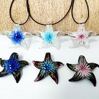 6pcs 믹스 색상 수제 무라노 유리 꽃 산호 불가사리 펜던트 목걸이 블루 핑크 퍼플 스웨터 체인 모든 일치 보석
