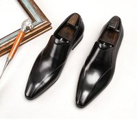 Designer Men cowhide loafers Dress Shoes Genuine Leather luxury Fashion Business Casual party Wedding Bridegroom shoes pointed Toe Elastic band plus size 38~45