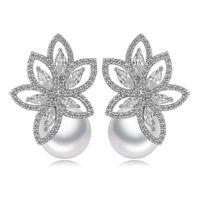 Boucles d'oreilles de la fleur de perles Bling Blanc Zircon Fine Bijoux De Mariage Dangle Boucles d'oreilles pour Femmes Girl Cadeau
