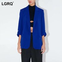 Women's Suits & Blazers [LGRQ] Women Blue Vintage Casual Blazer Notched Neck Long Sleeve Loose Fit Jacket Fashion Tide Spring Autumn 2021 19
