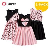 PatPat Arrival Summer 3-piece Kids Leopard Love Dresses Set Girls Sleeveless Dress Children's Clothing 210831