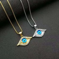 Stainless Steel Hip Hop Iced Out Cubic Zirconia Eye Pendant Necklace Blue Turkish Jewelry For Women Men Charm Amulet Gift