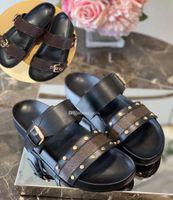 Fashion-Femmes Pantoufles Hommes Sandale de Prestige Designer Lady Design Slipper Gentlemen Toile de toile colorée Lettre Anatomique Cuir Slide 13 Style Modèle