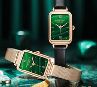 레트로 녹색 다이얼 아름 다운 여자 시계 쿼츠 stunds 시계 그물 철강 벨트 및 정품 가죽 스트랩 편활 디자인 섬세 한 여자 손목 시계