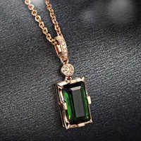 Pendant Necklaces Rose Gold Color Necklace Natural Emerald For Women Peridot Bizuteria Gemstone Jade Jewelry