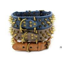 Bronze spiked pet dog collars wear-resistant PU large retro rivet collar 3 colors HWE9797