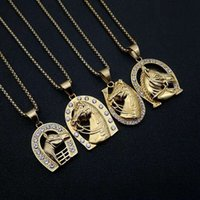 Cubic Zircon Horse Head Pendants Necklaces For Women Men Gold Color Stainless Steel Chain Horseshoe Iced Out Bling Hip Hop Jewelry