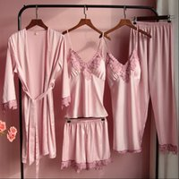 5PCS Pajamas Sets Satin Womens Sleepwears Lace With Chest Pads Nighty Robe Gown Sexy Summer Bride Wedding Sleepwear Pyjamas Sleep